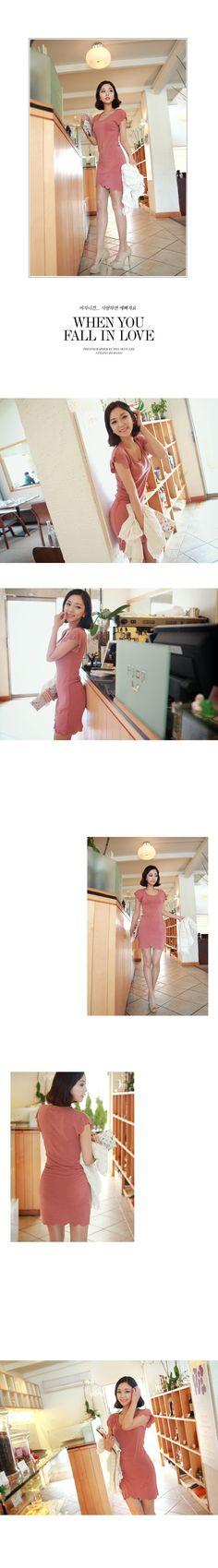 ❉优雅风❉圆领波边纯色直筒连衣裙 - c h u u : ) 韩国女装网店chuu中文官网, I know you want to kiss me♥