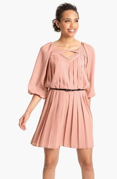 Free shipping and returns on Jessica Simpson Pleated Crêpe de Chine Blouson Dress at Nordstrom.com. Winsome pleats lend playful movement to a belted crêpe de Chine day dress featuring a geometric front cutout and charming blouson sleeves.
