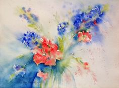 Bluebonnet and Indian Paintbrush Watercolor - Lovely as a Tattoo