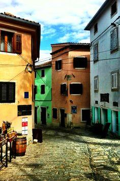 Colourful Houses in Motovun, Istria