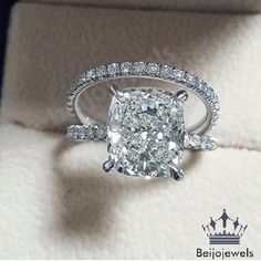 D/VVS1 DIAMOND BRIDAL SET ENGAGEMENT RING CUSHION CUT 2.50 CARAT 14K WHITE GOLD #beijojewels