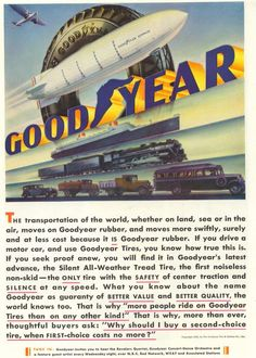 1932 Ad Goodyear Rubber Tire Blimp Trucks Airplane Ship Train Art Print Ad Page #CamelCigarettes