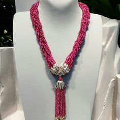 Diy Necklace, Tassel Necklace, Jewelry Necklaces, Jewellery, Ruby Beads, Van Cleef Arpels, High Jewelry, Pearls, Chains