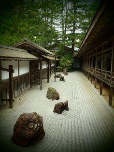 Buddhist temple courtyard, Mt. Koya, Japan.