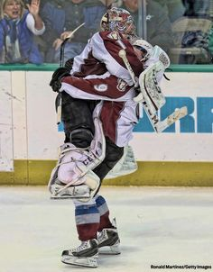 Varly tackling Dutchy after a 5-4 shootout win against Dallas. #nevergiveup