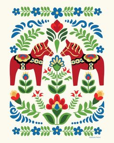 super Ideas for swedish folk art tattoo ideas Folk Art Flowers, Flower Art, Art Floral, Campolina, Bel Art, Folk Print, Art Print, Polish Folk Art, Creation Art
