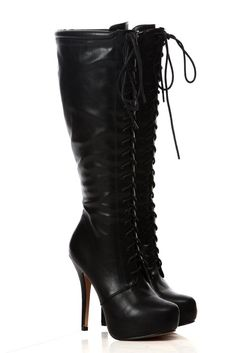 Gothic Steampunk Black Faux Leather Knee High Lace Up Riding Platform Boots