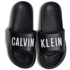 CALVIN KLEIN Slippers ($113) ❤ liked on Polyvore featuring shoes and slippers
