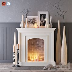 Decorative fireplace with candles Faux Fireplace Mantels, Candles In Fireplace, Fireplace Design, Decorative Fireplace, Fireplaces, Fireplace Feature Wall, Bedroom Fireplace, Living Room Designs, House Design