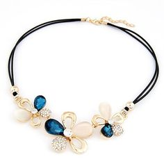 Summer Sapphhire Gemstone Flower Decorated Design Alloy Korean Necklaces,Priced At Only US$1.92