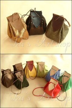 Hand-crafted pouches, made of natural leather. Fastened with a double leather strap. Approx Dimensions: Circumference: 12 inch cm) Length: Even More Medieval Leather Pouches Leather Work Bag, Leather Pouch, Leather Purses, Novelty Bags, Potli Bags, Linen Bag, Leather Projects, Cloth Bags, Leather Accessories