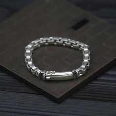 Men's Sterling Silver Square Link Chain Bracelet