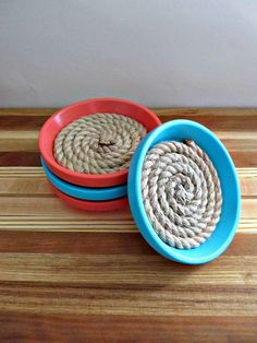 Teal and Coral Drink Coasters  Terra Cotta by LizzieJoeDesigns