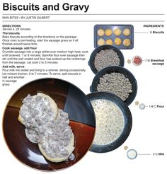 Printable version When I was younger, one of my favorite things to do was get a late night order of biscuits and gravy after being ou. Biscuits And Gravy, Sausage Gravy, How To Cook Sausage, Creative Food, Love Food, A Table, Delish, Brunch, Food And Drink