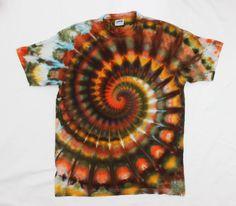 Autumn Colors Tie Dye Super Pleated Spiral Ice Dye Tshirt   Size XL by OtdelMaljaraTieDye on Etsy