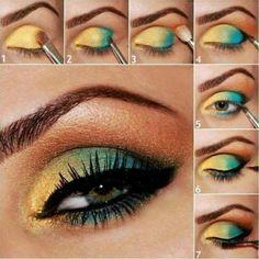 Green and Golden Glitter Eye Look
