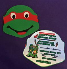 10 TMNT Ninja Turtle Die Cut Handmade Invitations by LeslisDesigns, $30.00