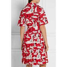 Printed Cotton-poplin Dress - Red Prada VxOR7JsKAV