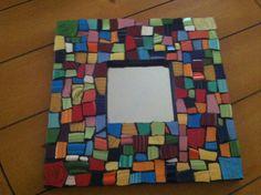 Mosaic Tile  Art Colorful Wall Mirror Broken Plate Chartreuse Yellow. $80.00, via Etsy.