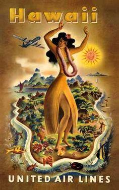 United Airlines Vintage Hawaii postcard