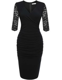 Blue Plunge Neck Slim Lace Bodycon Pencil Party Dress
