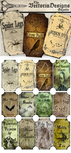 Halloween Bottle Labels - an inspiring collection of different creepy bottle and jar labels for Halloween. Put them on regular bottles which you