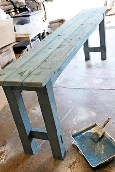 How to use watered down milk paint to get a beachy look on newly built DIY no-nails console table by Shabbyfufu featured on Remodelaholic Pallet Furniture, Furniture Projects, Painted Furniture, Home Furniture, Furniture Design, Building Furniture, Primitive Furniture, Plywood Furniture, Cheap Furniture