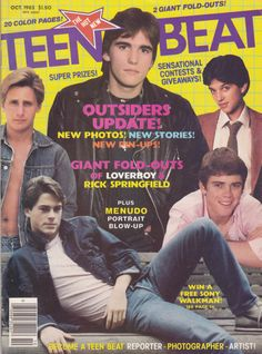 I loved going to the grocery store and looking through the Teen Beat (and other) magazines while my mom shopped! The Karate Kid 1984, The Outsiders 1983, Dallas Winston, Greaser Girl, Ralph Macchio, Matt Dillon, Rob Lowe, Lets Do It, Movie Tv