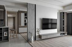 Living Room Tv Unit, Living Room Interior, Home Living Room, Living Room Partition Design, Room Partition Designs, Tv Cabinet Design, Tv Wall Design, Flat Interior Design, Luxury Interior