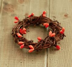 Fall- Rustic Mini Wreath and Napkin Ring Orange Bead