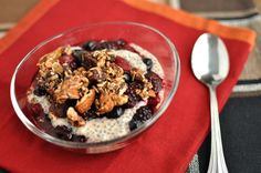 Chia Seed pudding with berries and Sweet Cinnamon Granola. Gluten Free and Paleo
