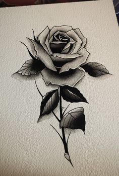 Dark Roses Tattoo, Rose Tattoos, Flower Tattoos, Black Tattoos, Small Tattoos, Rose Drawing Tattoo, Tattoo Drawings, Pretty Hand Tattoos, Black And Grey Rose