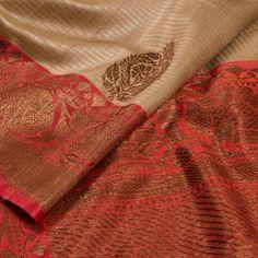 Handwoven Biege Banarasi Kadhwa Tussar Silk Saree With Floral Butis 10013355