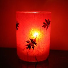 sultry red woodland forest candle holder glass luminary with handmade paper
