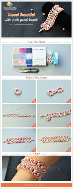 DIY sweet bracelet with Pandahall Elite pink pearl beads