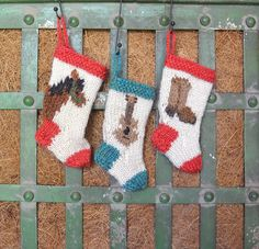 Country Music Christmas Stocking Ornament Set is a hand-knit gift that will be a heirloom
