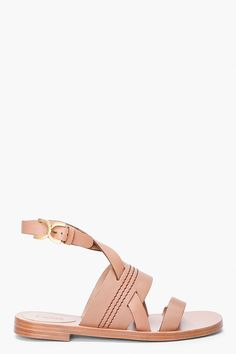 Chloe Taupe Leather Marcie Sandals
