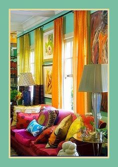 bright colorful bohemian room - Google Search