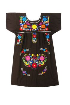 $51.00 Mexican Donaji Tunic - Brown with Multi Color Embroidery