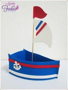 Barco Centro de mesa em EVA para aniversário, fazemos todos os tipos de temas e modelos, com ótimo acabamento e qualidade. Foam Crafts, Diy And Crafts, Crafts For Kids, Paper Crafts, Baby Shower Gift Bags, Baby Boy Shower, Navy Party Themes, Sailor Party, Navy Birthday
