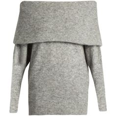 Acne Studios Daze off-the-shoulder knit sweater ($360) ❤ liked on Polyvore featuring tops, sweaters, grey, acne studios, knit top, knit sweater, off the shoulder knit sweater and grey off shoulder sweater
