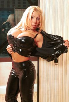 Best busty titties in skintight leather catsuit xxx