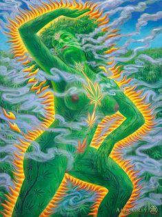 Cannabia, a brisa Alex Grey, Alex Gray Art, Stoner Art, Psy Art, Hippie Art, Dope Art, Visionary Art, Psychedelic Art, Fractal Art