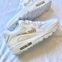 best service 6c07a 6b1d9 Luxe Crystal Custom Nike Air Max 90 White Wedding Bridal Shoes