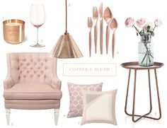 copper blush furniture decor - Google Search