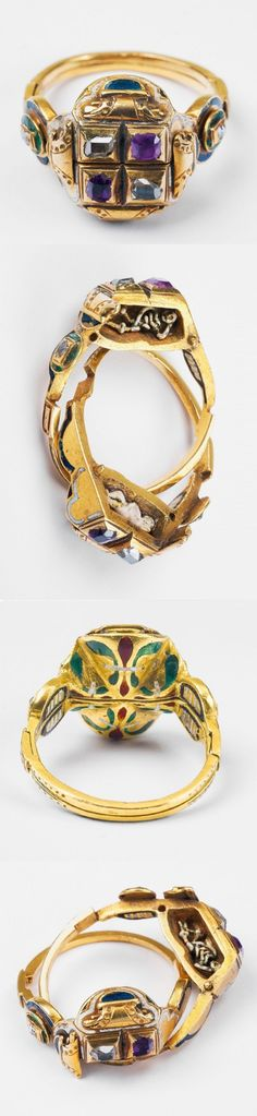 "A rare Renaissance period gold, enamel, ruby and diamond ""gimmel"" ring with memento mori, possibly 17th century. Designed as two connected bands decorated with relief and enamels throughout, the bezels set with two rubies and two diamonds. The bands pull apart to reveal the miniature figures of a baby and a skeleton to their interiors."