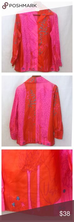 """Vintage VERA Neumann Pink Red Silk Forest Blouse Vintage 60s 70s VERA Neumann Blouse Pink Red Silk Forest Trees Shirt Sz 16 • Hot pink and red colorblock button down shirt • Fabric covered buttons • Two button cuffs • 100% silk • Size is marked 16, this is a vintage sizing, please check measurements, runs small, fits like 12/14 • 22"""" bust • 26"""" length  • 16"""" sleeve inseam  • All measurements taken with blouse flat • Good vintage condition, small stain on the back of the shirt right below the…"""