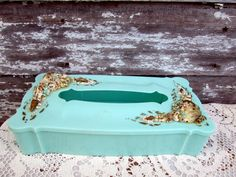 Vintage Kleenex tissue Box Aqua green Shells and by Holliezhobbiez, $20.00
