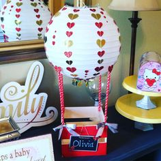 Valentines Day, Valentine Box, Hot Air Balloon  Made with small wooden crate, paper straws, paper lantern and misc embellishments.