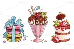 Check out Watercolor desserts by Astromonkey on Creative Market http://crtv.mk/gOFH